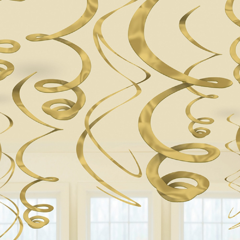 12 X Gold Hanging Swirls Party Decorations 50th Golden