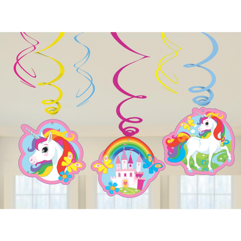 6 x unicorn hanging swirls birthday party decorations for Paper swirl decorations