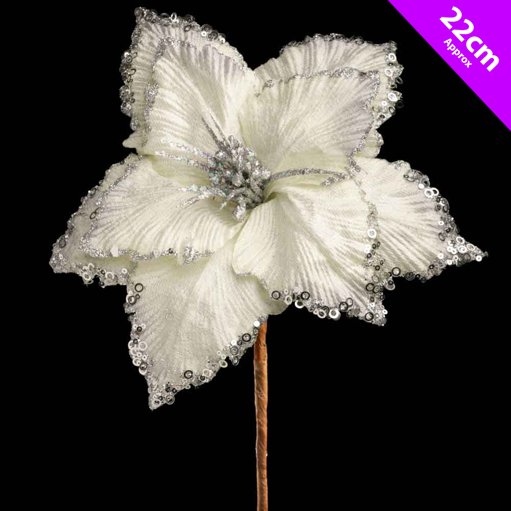 5 x white amaryllis christmas flower picks decoration tree for Amaryllis christmas decoration