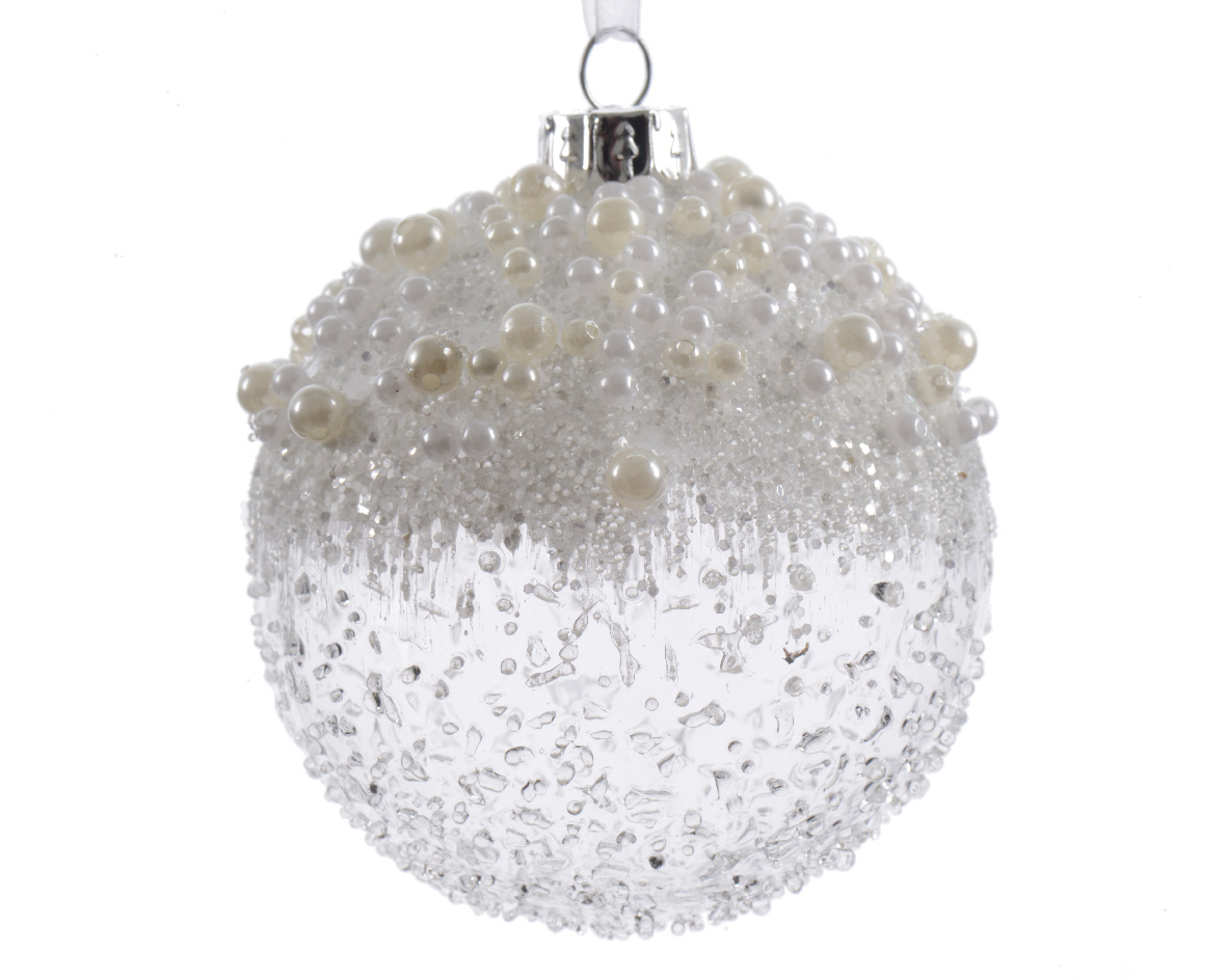 6 X Clear White Beaded Icicle Christmas Tree GLASS Baubles