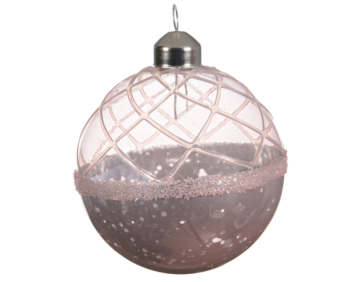6 Pale Blush Pink Glass Christmas Tree Baubles Hanging