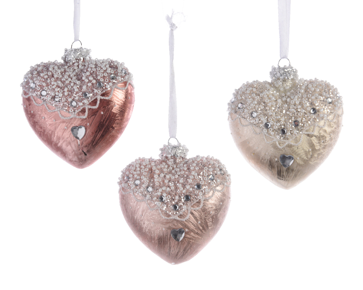 Christmas Tree Baubles Pink : Pale Pink Ivory Glass Heart Shape Christmas  Tree