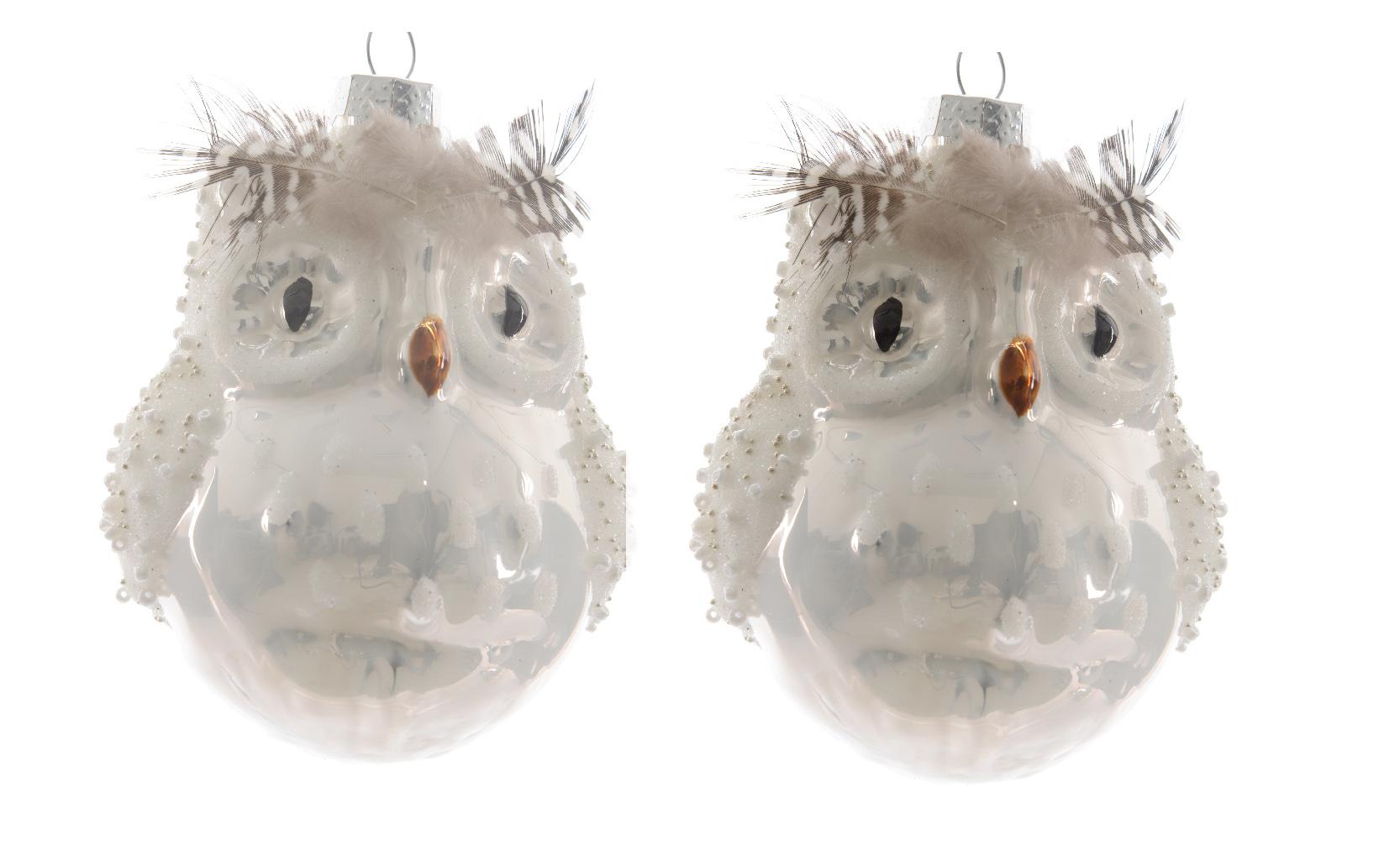 6 X Glass Owl Shape Christmas Tree Baubles Hanging
