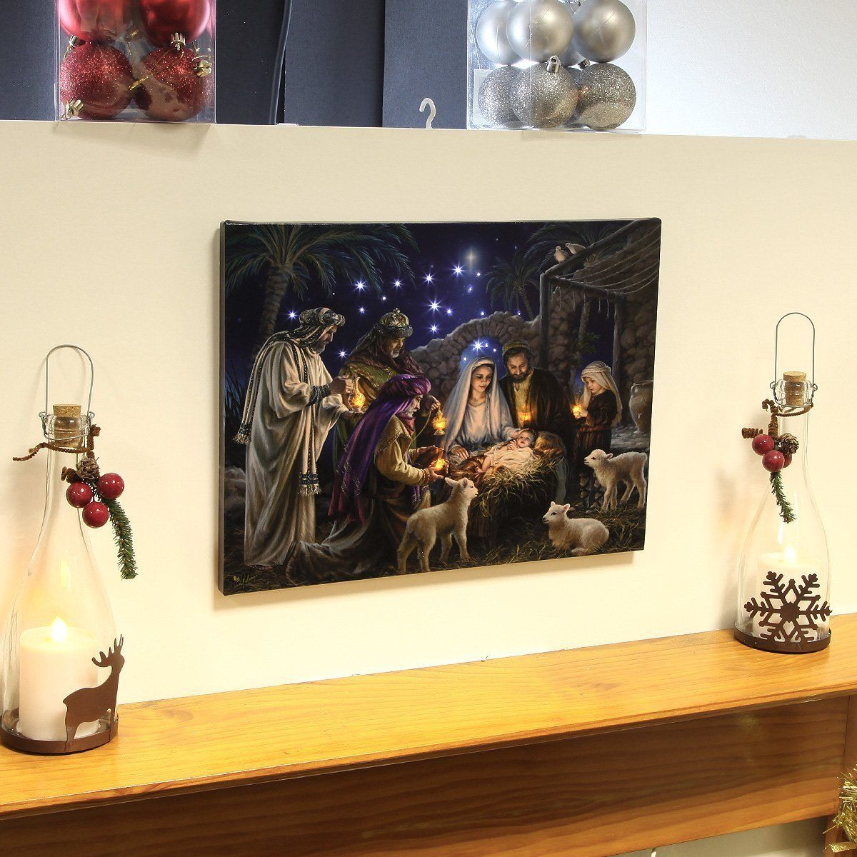 Christmas Wall Scene Decorations : Nativity canvas with light up led bulbs christmas