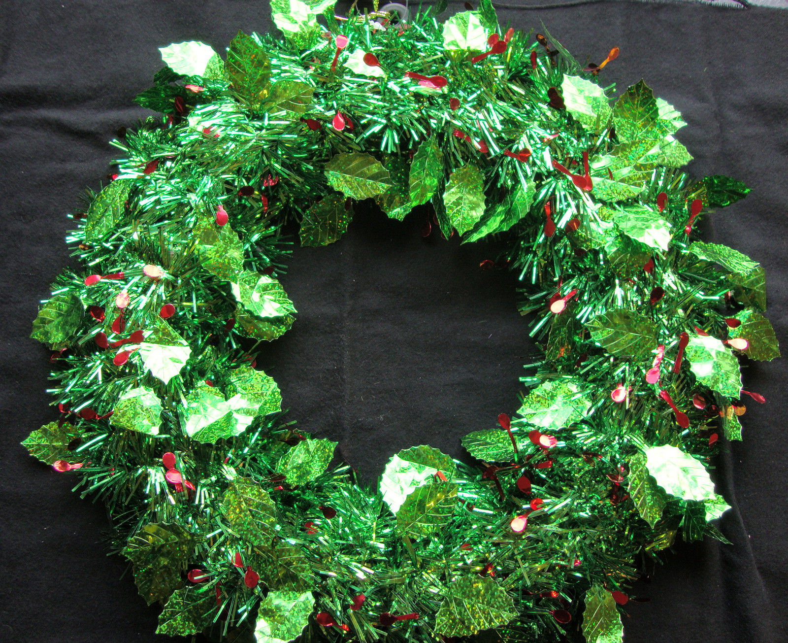 holly tinsel wreath door decoration christmas cheap. Black Bedroom Furniture Sets. Home Design Ideas