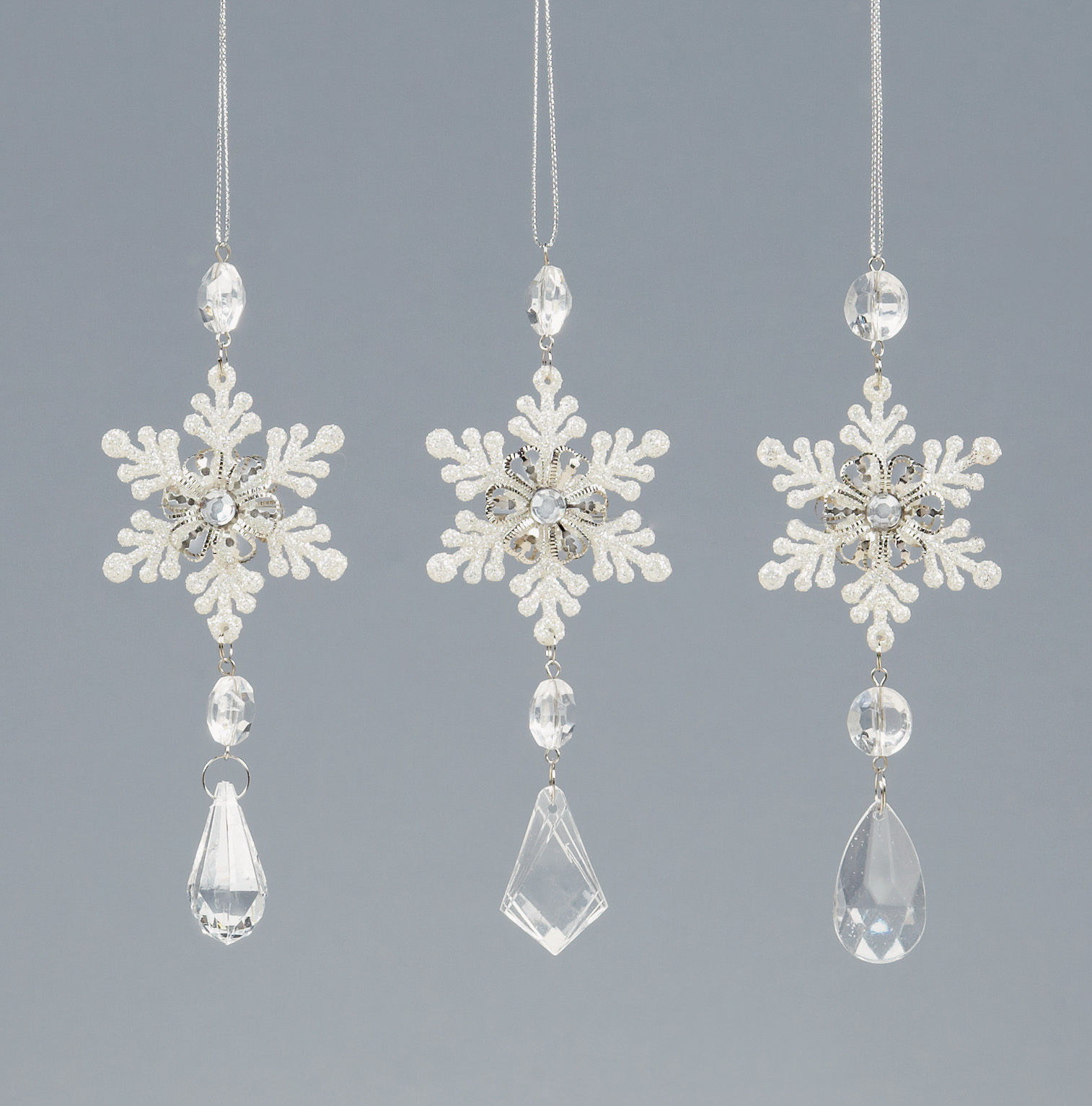 3 x vintage style sparkle snowflake crystal christmas for Crystal baubles christmas