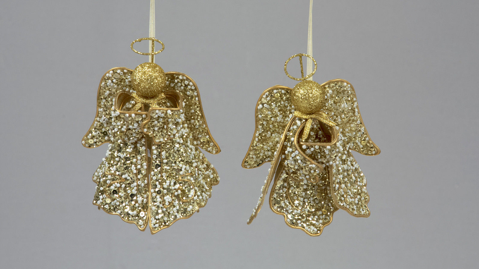 3 X Gold Sequin Pearl Angels Vintage Style Christmas
