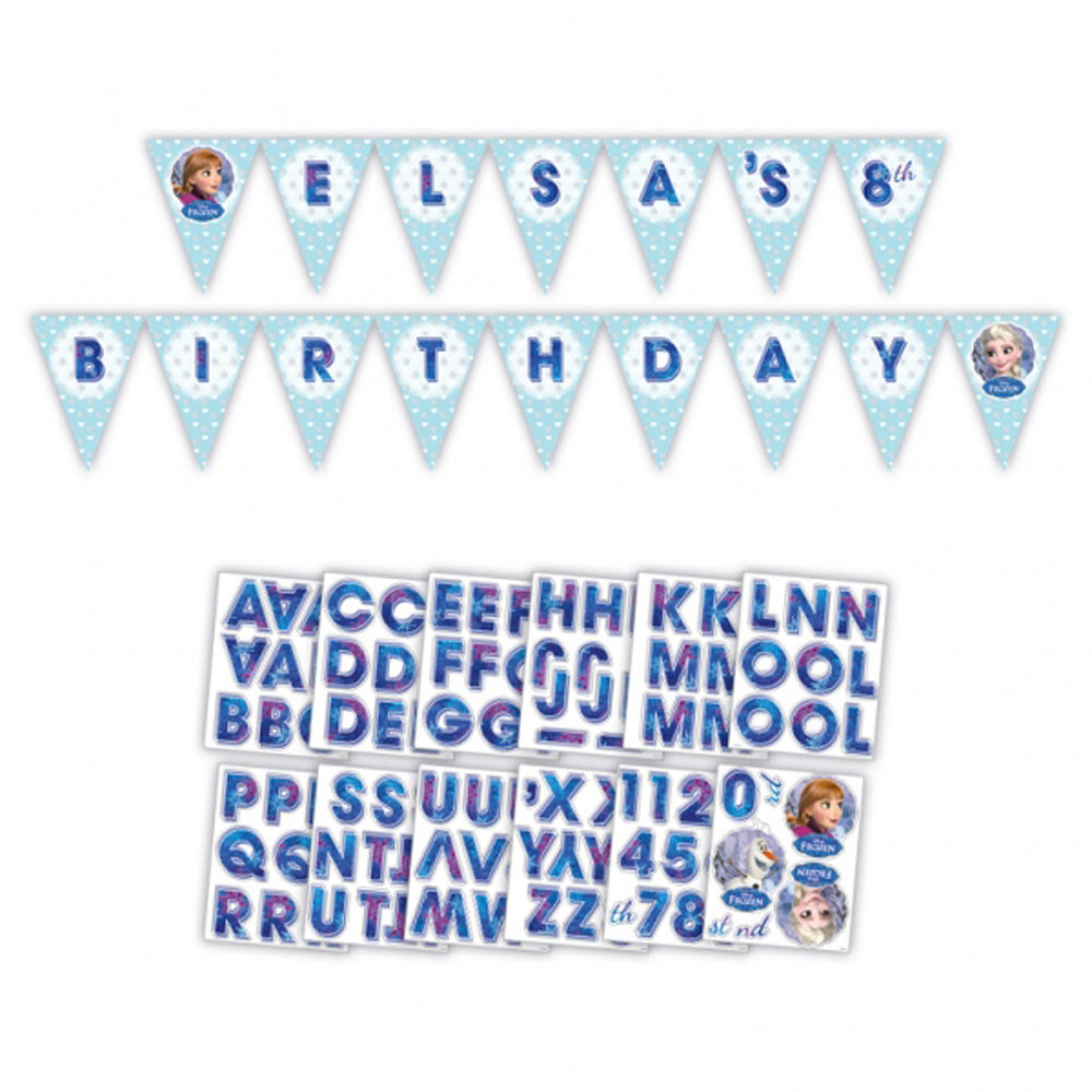 FROZEN Happy Birthday AGE Banner Party Decoration Add NAME