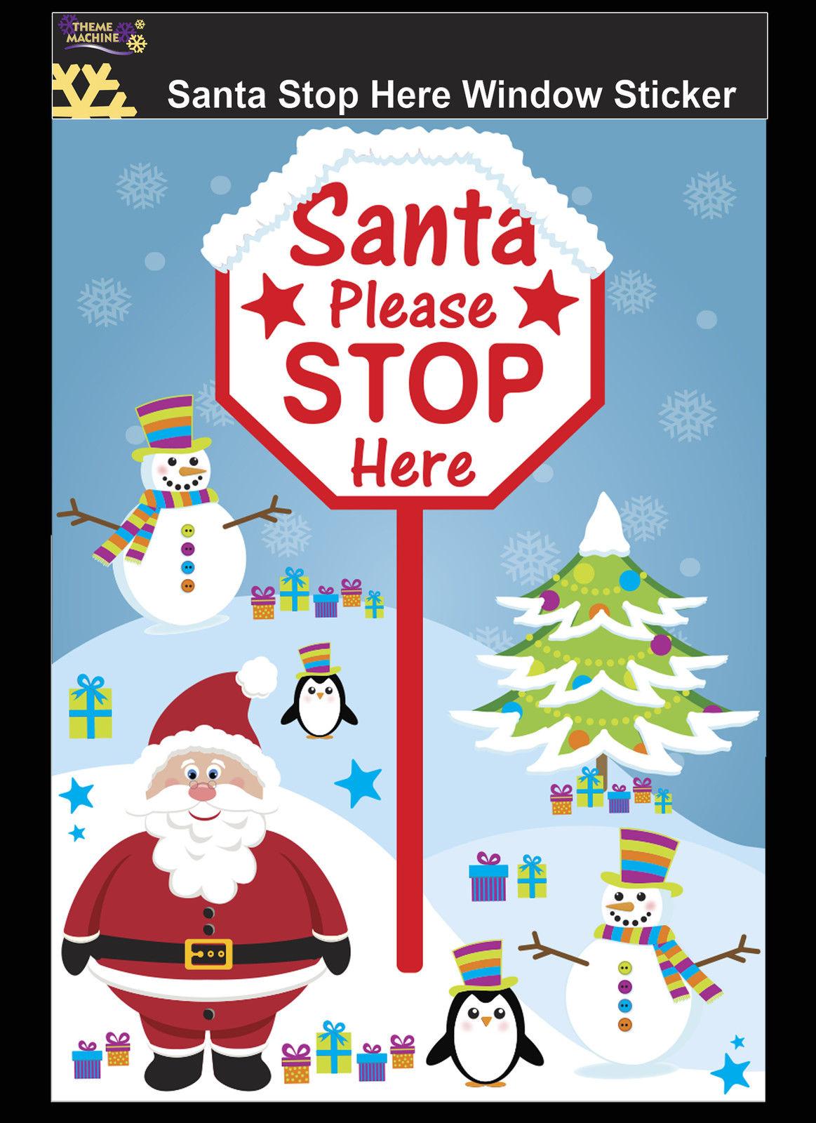 Here sign window sticker christmas decoration childs window decoratio