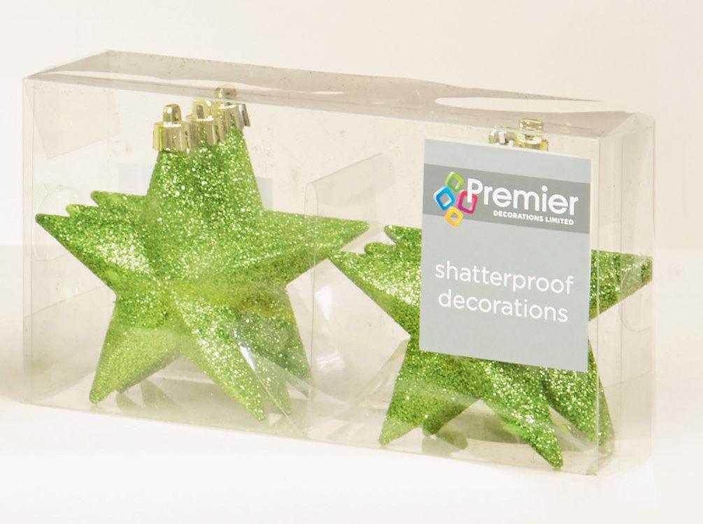 12 X Apple Green Glitter Stars Shatterproof Christmas Tree