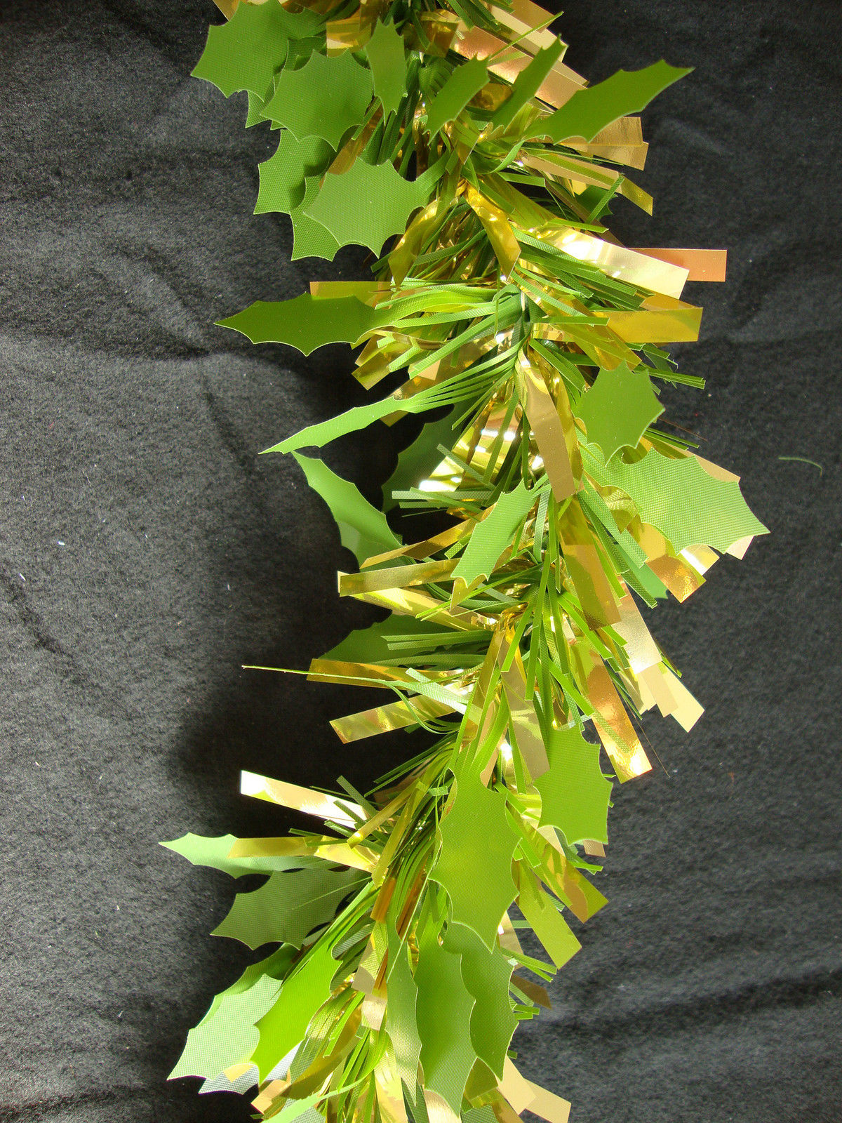Luxury thick green gold holly tinsel metre garland