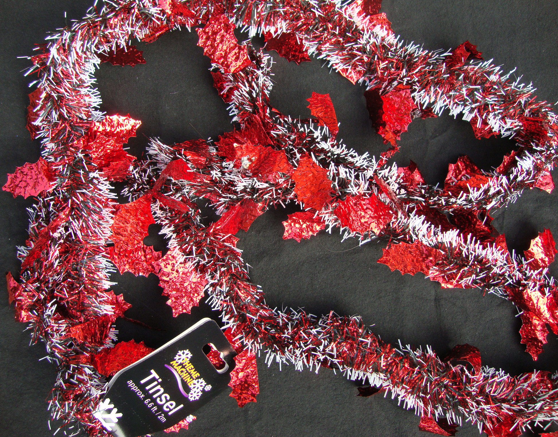 Metre long red snowy tinsel w foil holly leaves garland