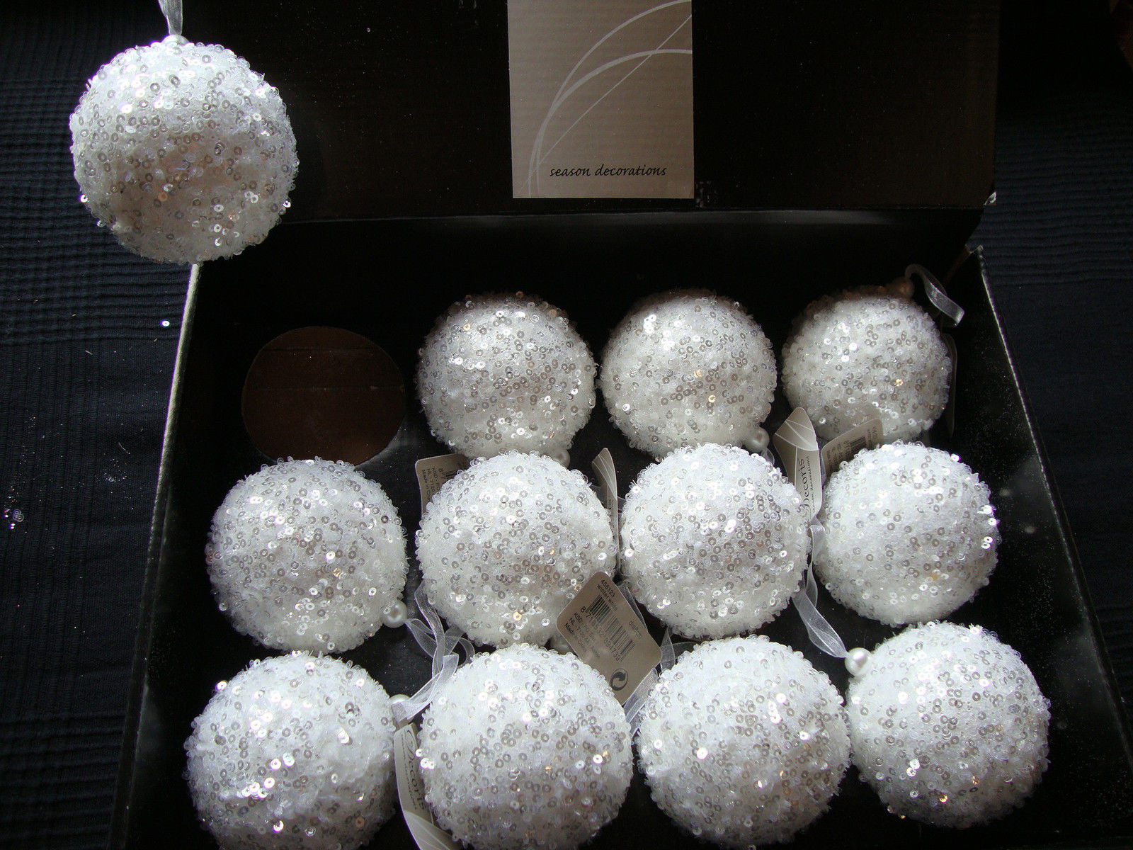 12 x large winter white sequin decorated christmas tree for White christmas baubles