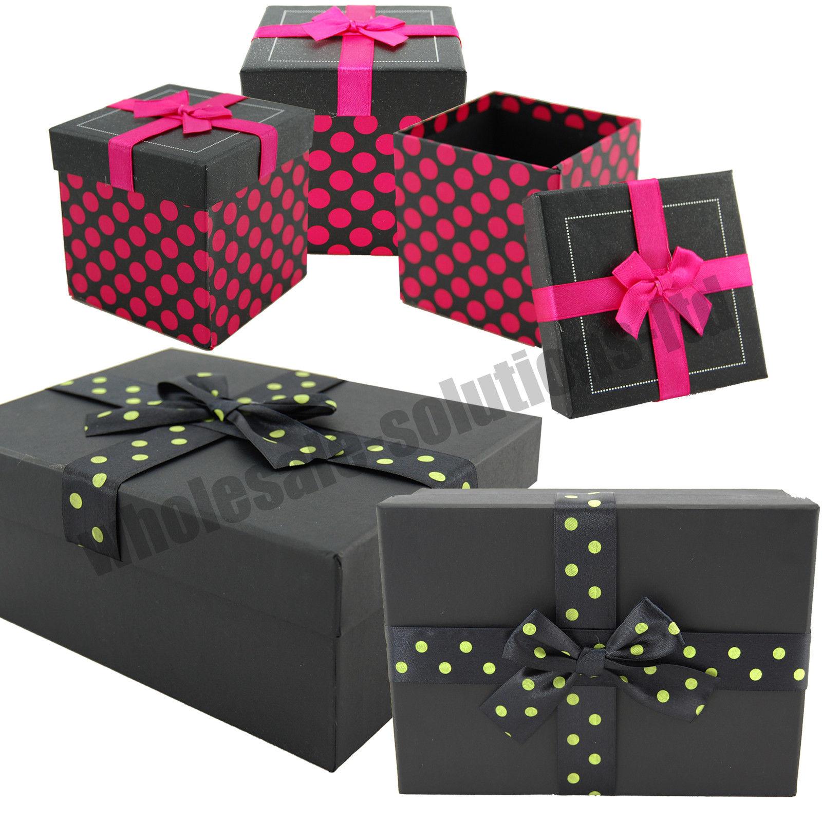 Polka dot solid gift box birthday present wrap bow watch