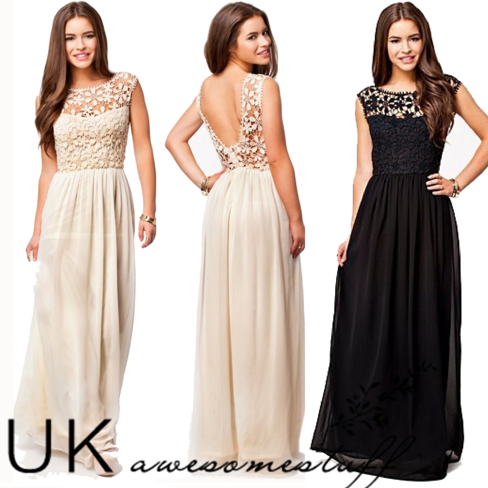 Uk formal long lace women prom evening party bridesmaid for Formal dress for women wedding