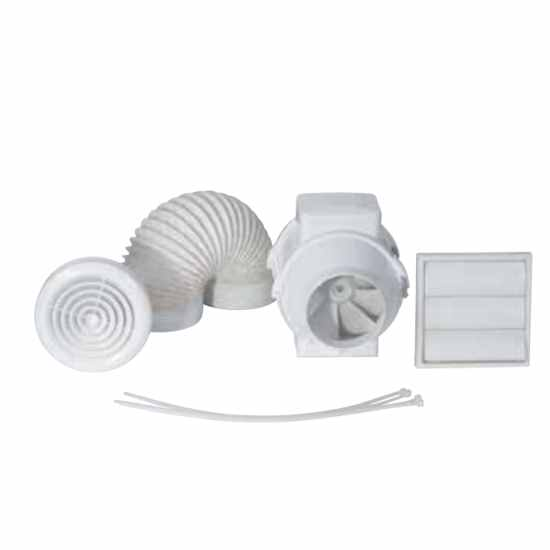 In Line Extractor Fans For Bathrooms: Airflow Aventa AV100T Kit 100mm In Line Mixed Flow Timer