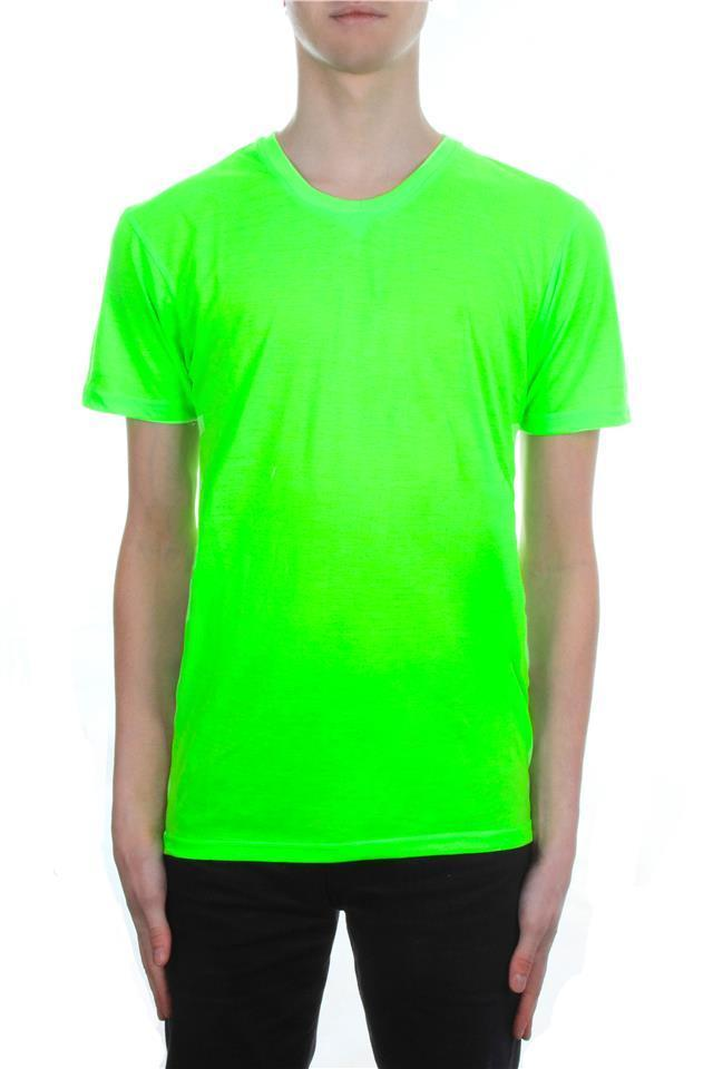 Mens neon t shirt by brave soul bright plain colours crew for Neon green shirts for men