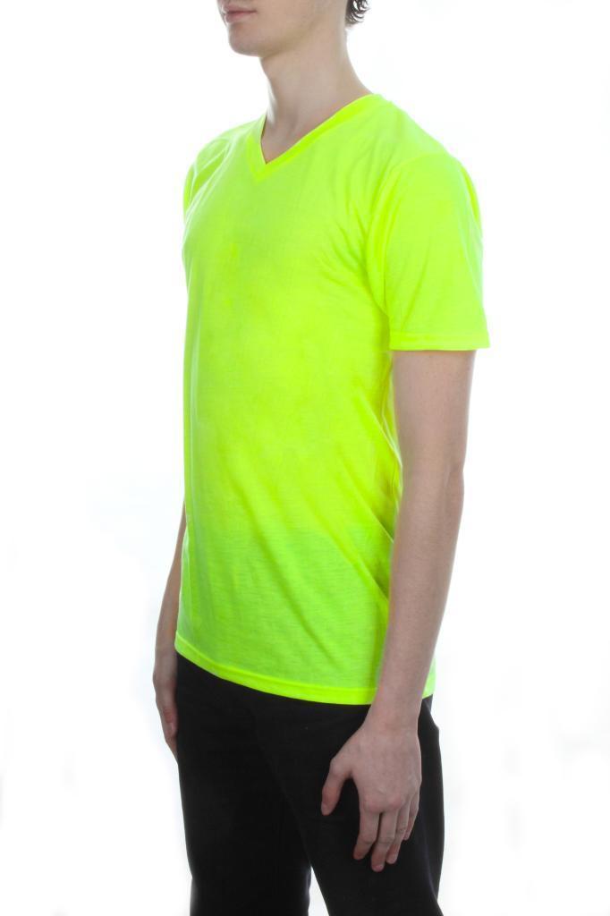Mens Neon V Neck T Shirt By Brave Soul Bright Colour Short