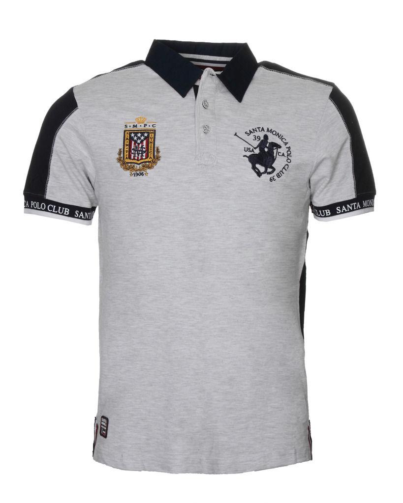 Mens Polo Shirt By Santa Monica Polo Club Smpc Cotton Top