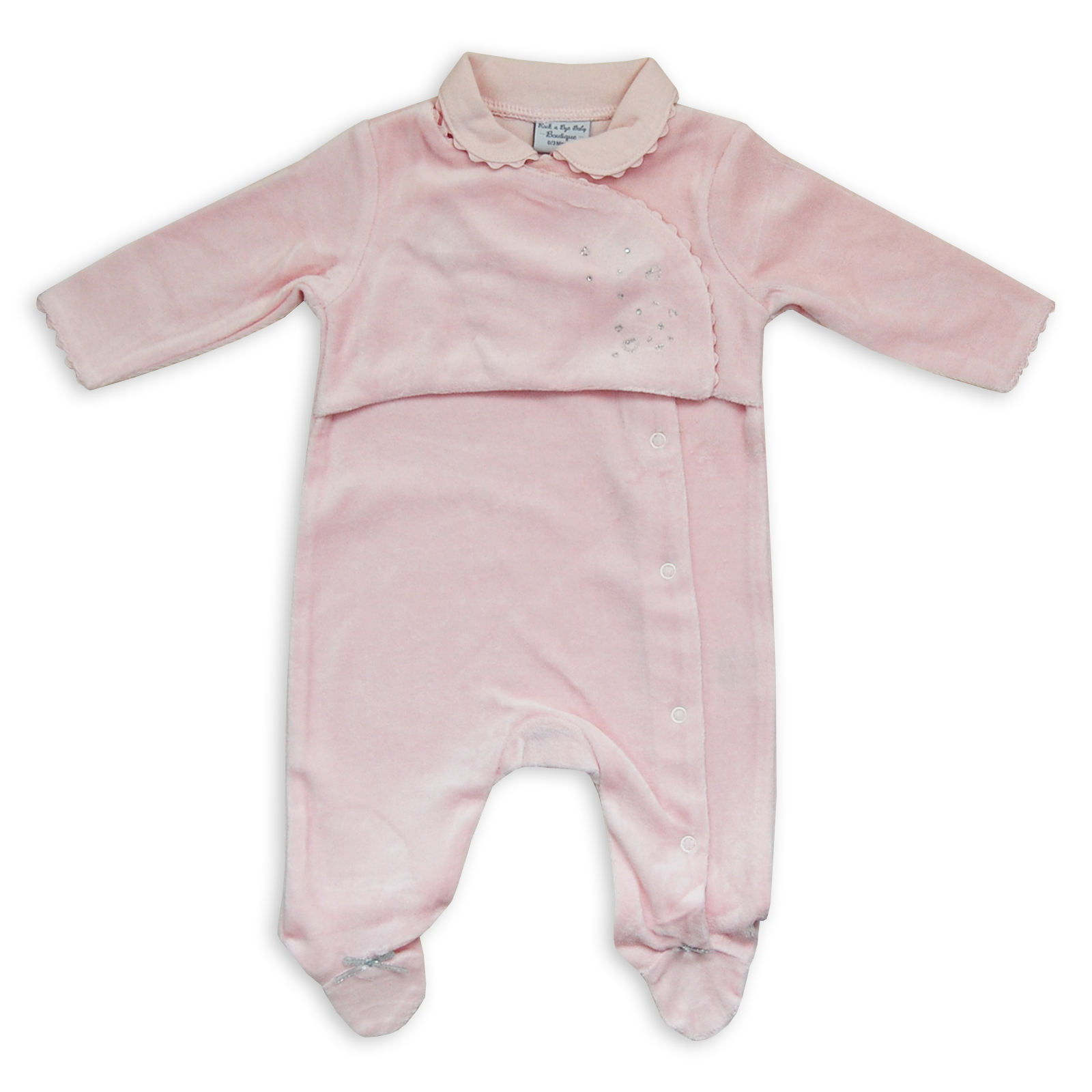 'I'm in the Clouds' Velour Sleepsuit A beautiful soft velour sleepsuit that fastens down the back with poppers. It has an all over embossed cloud design with a cute applique on the front with the words 'I'm in the Clouds' embroidered underneath.