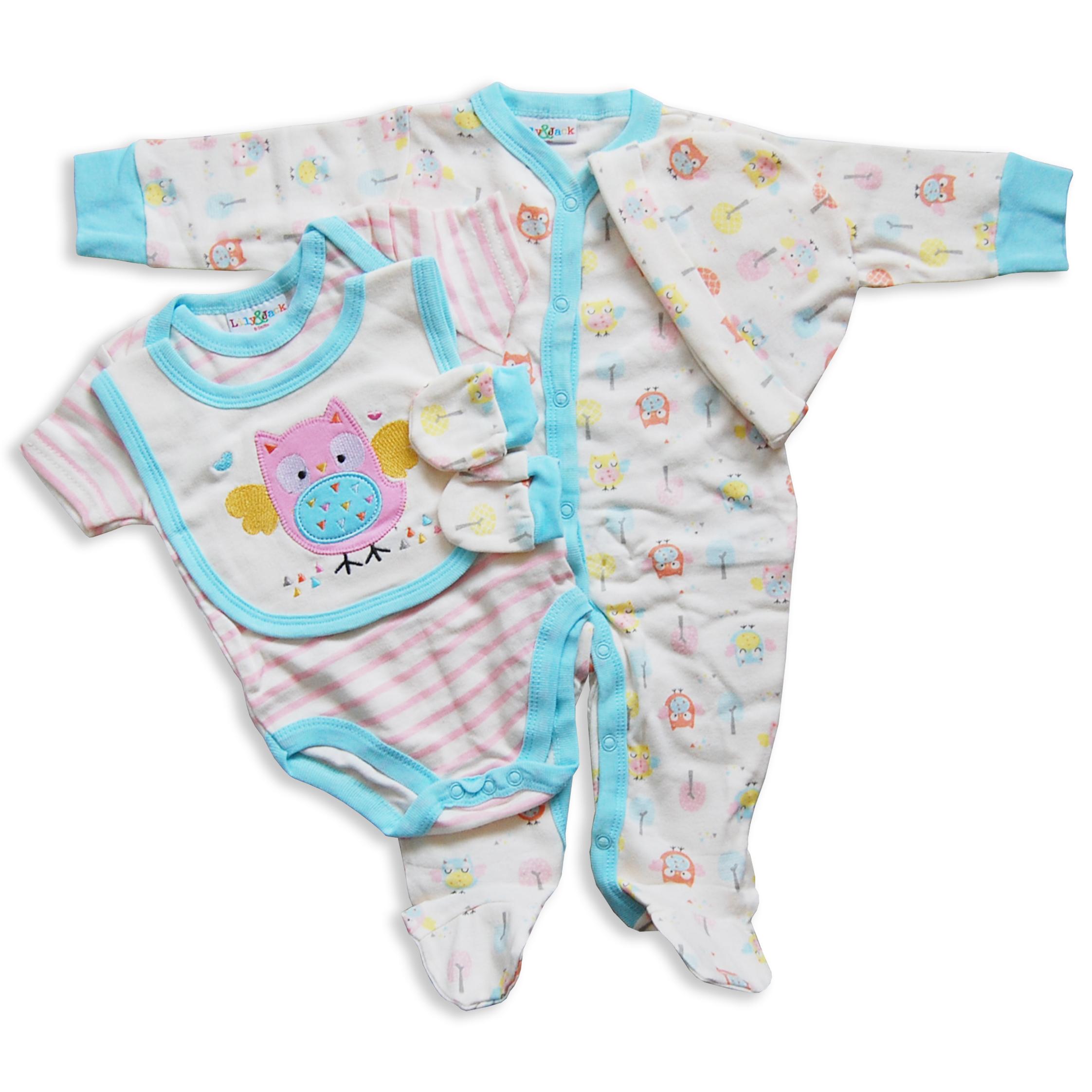 5pc Baby Girls Layette Newborn Set Natural Multi Owl