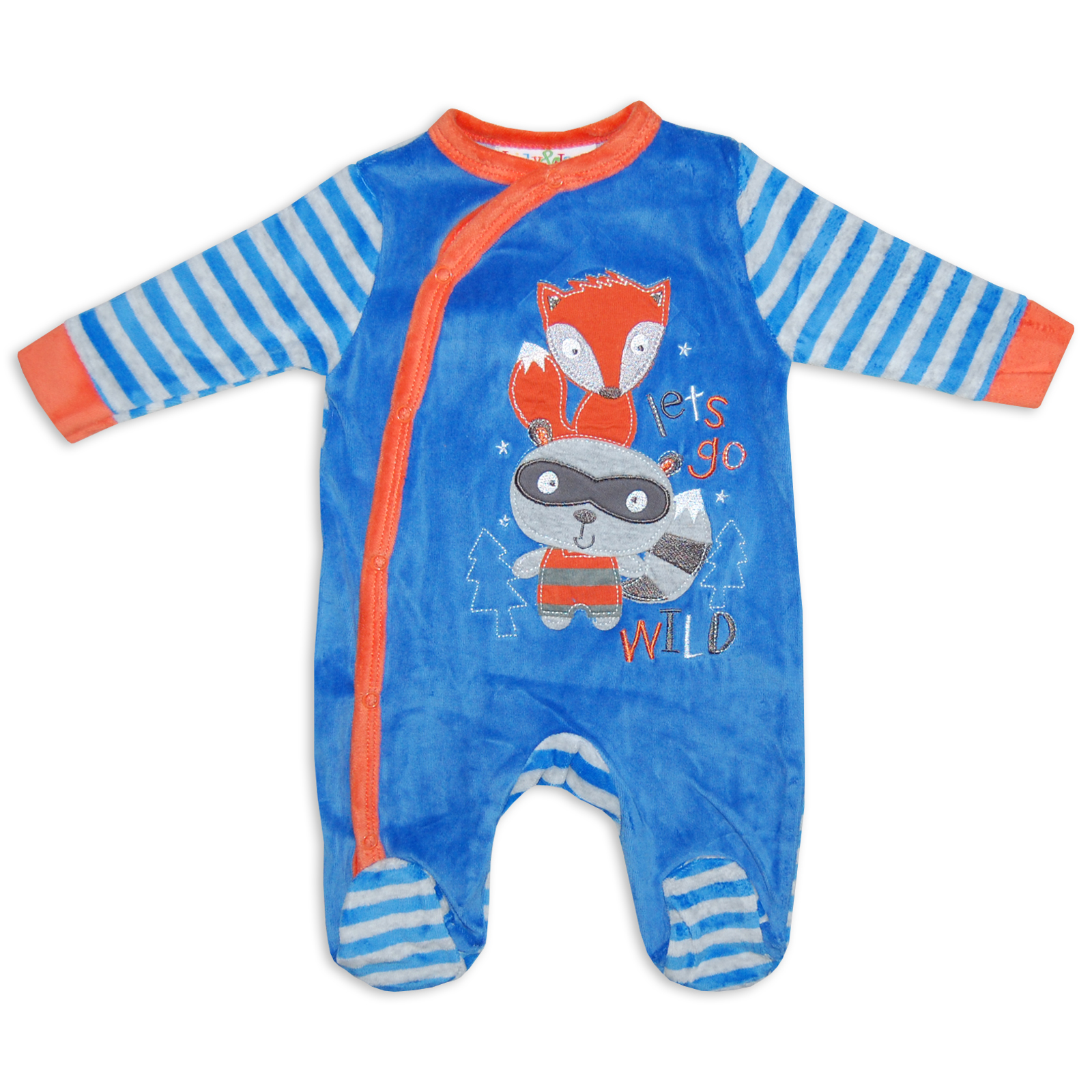 Pack of 3 velour sleepsuits. Pack comprises 1 with clouds print, 1 plain with penguin design on the front and 1 plain with lettering on the front. Press-stud fastening at the back and between the legs.