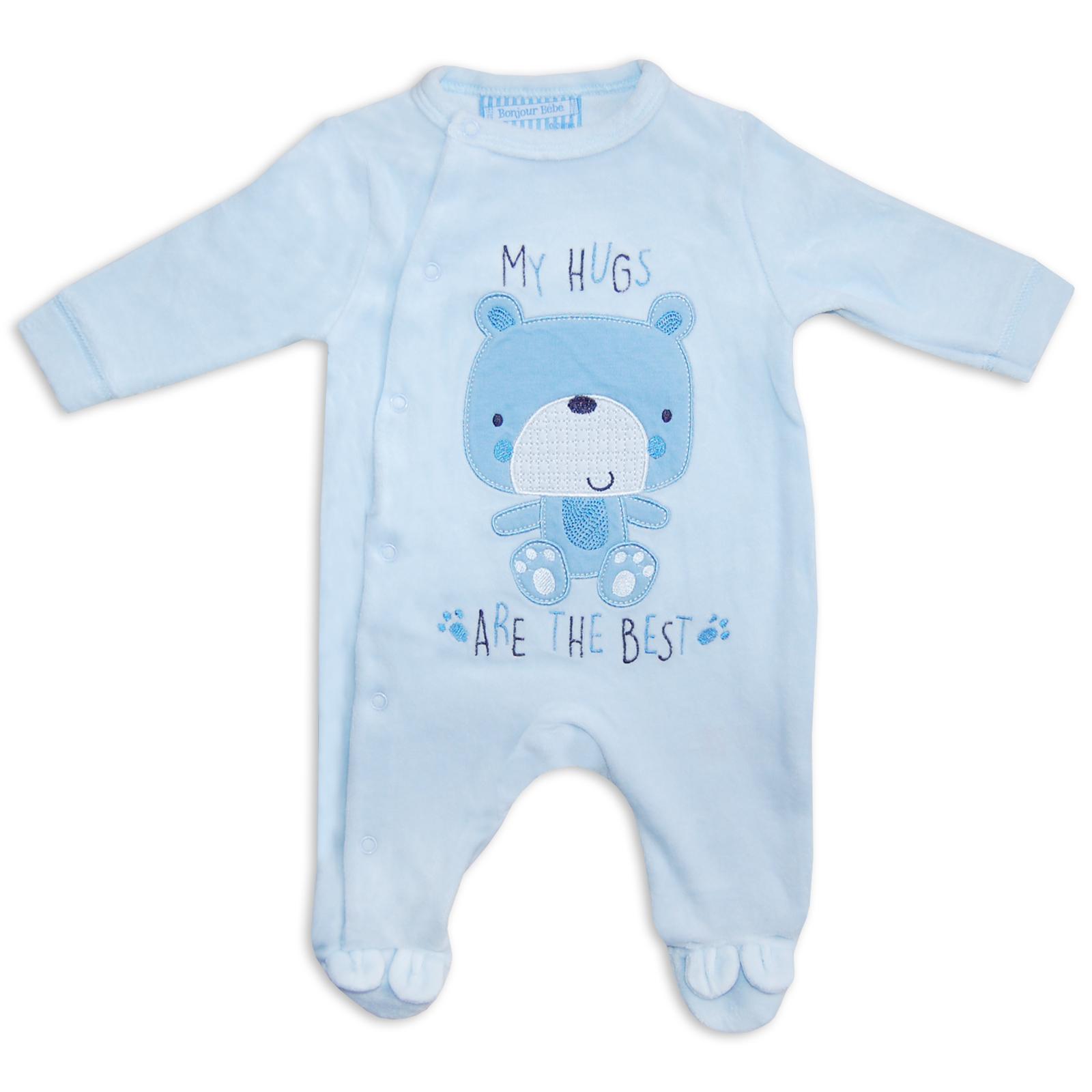 cdbc85752 Newborn Baby Boys Girls Unisex Velour Sleepsuit Romper Babygrow Blue ...