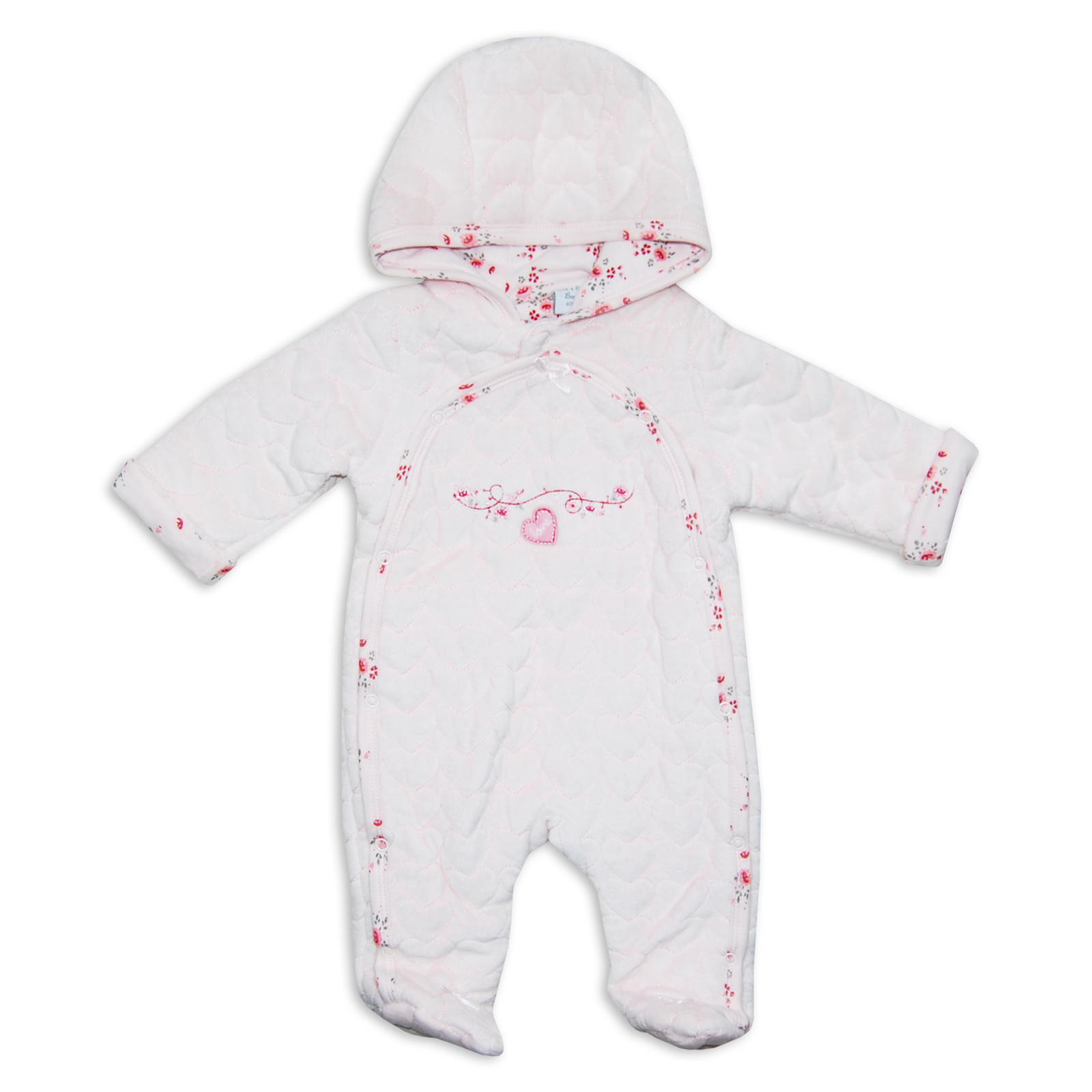 Polyester with % Cotton lining Baby snowsuit with mittens and a hood for girl. Microfiber padded snow suit with single front zip fastenin will be one of your favorite winter baby clothes.