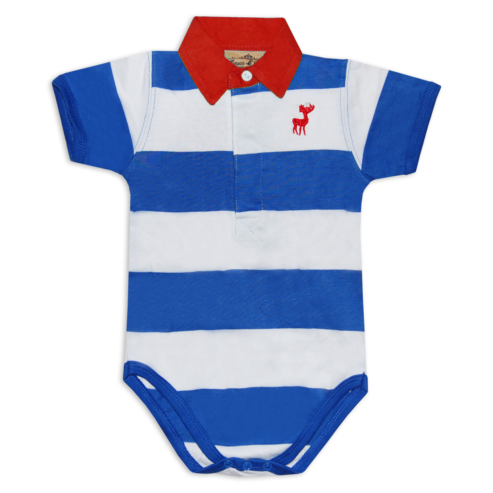 baby boys striped polo shirt short sleeve bodysuit in blue