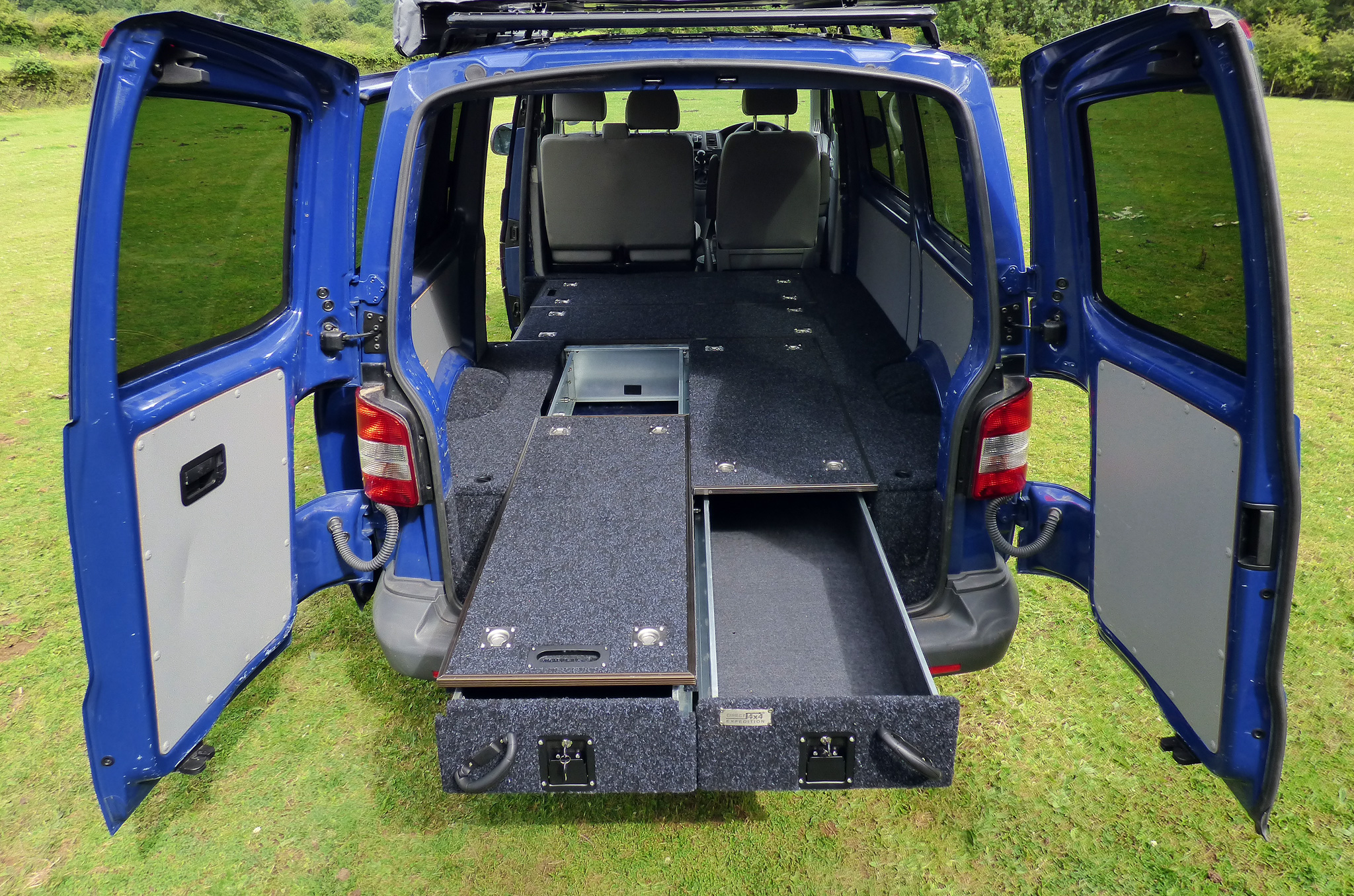 Vw T5 Twin Pull Out Drawer System With Fridge Slide Boxed