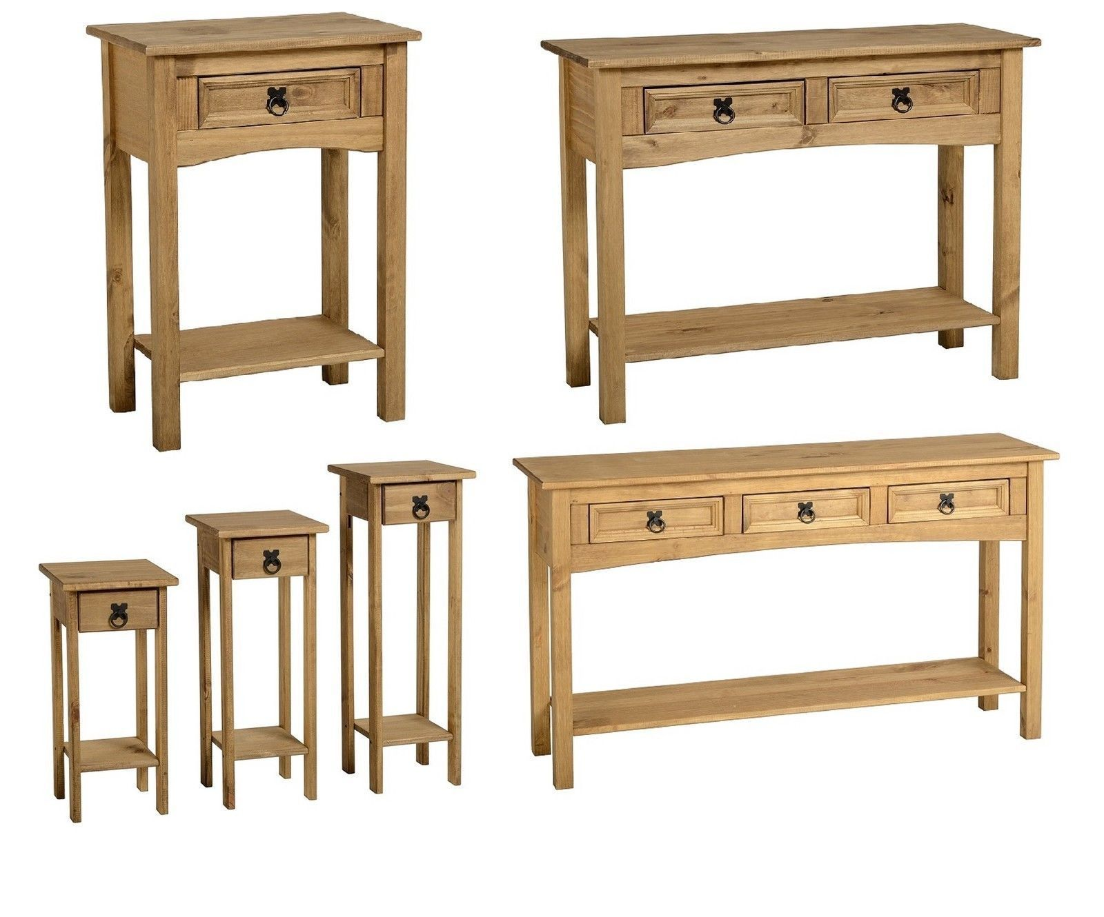 Corona pine console tables with storage shelves and drawers mexican design ebay - Pine sofa table with drawers ...