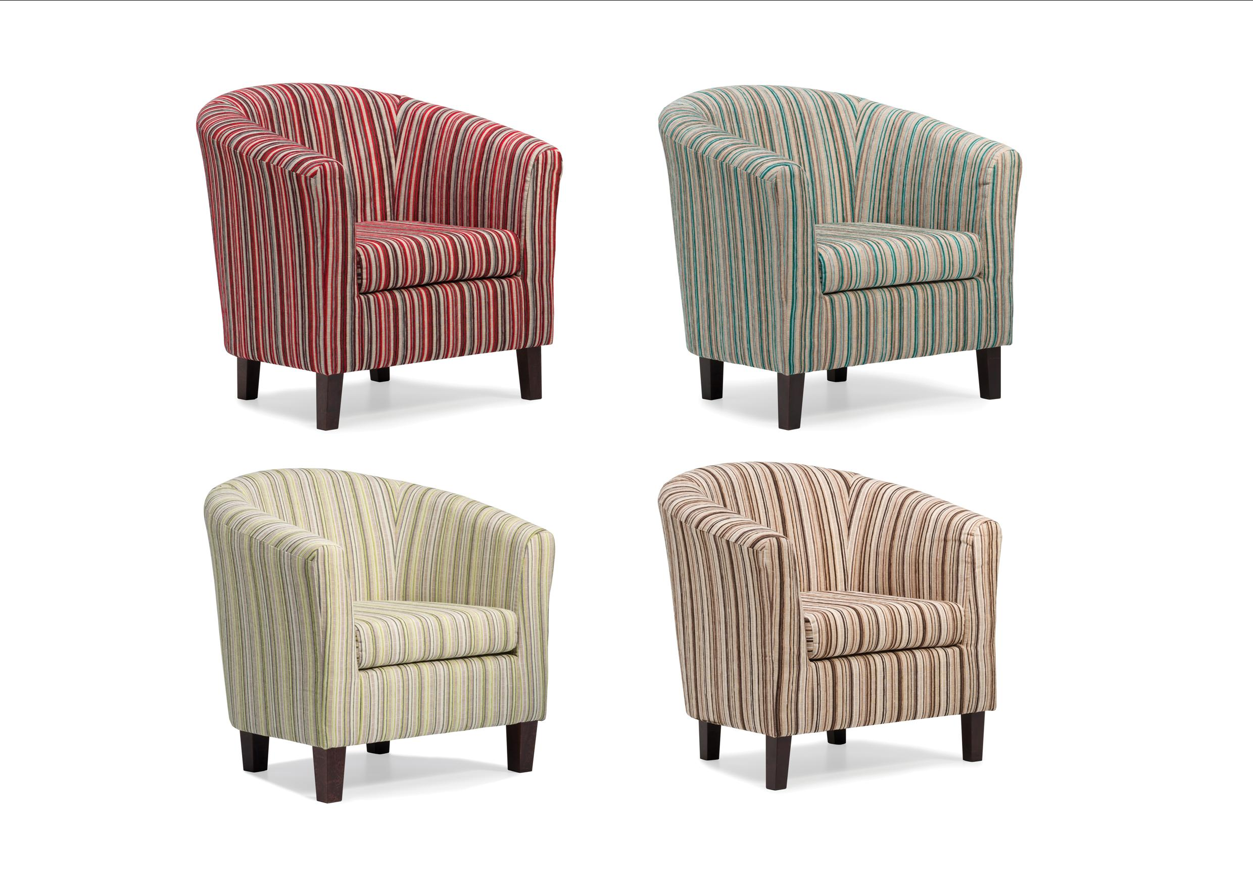 Dorset Stripe Tub Chair Available in Red Chocolate Lime or