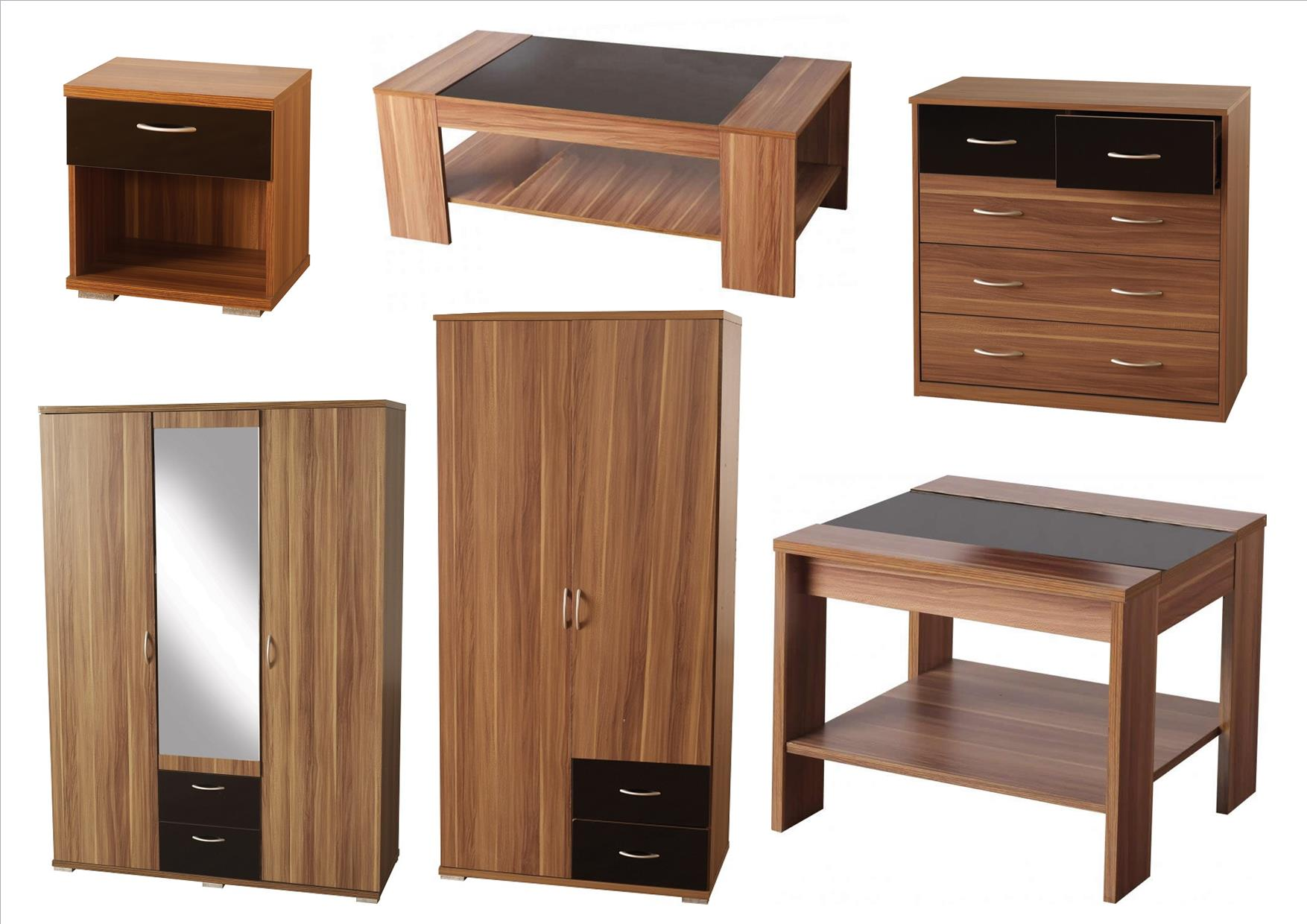 our hollywood walnut and black gloss bedroom and living room furniture