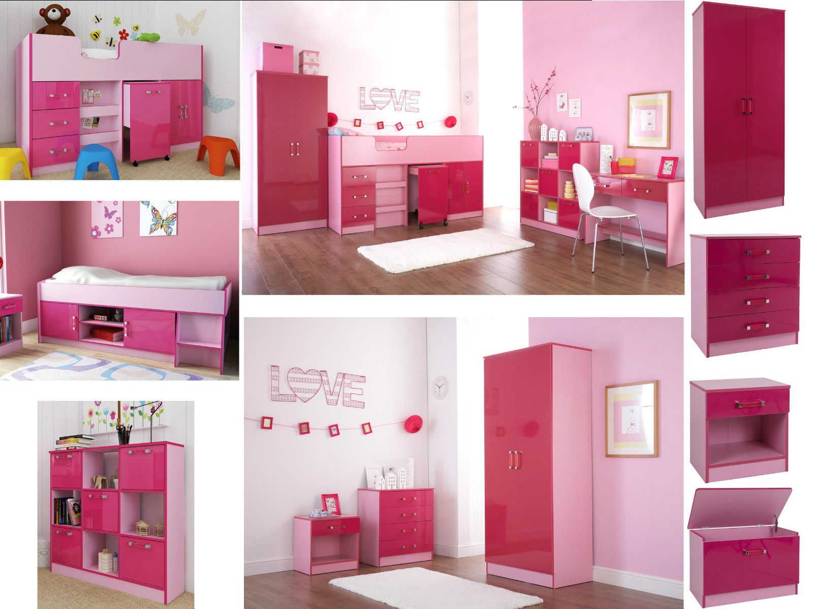 ottawa caspian pink gloss girls bedroom furniture wardrobe drawers beds sets ebay. Black Bedroom Furniture Sets. Home Design Ideas