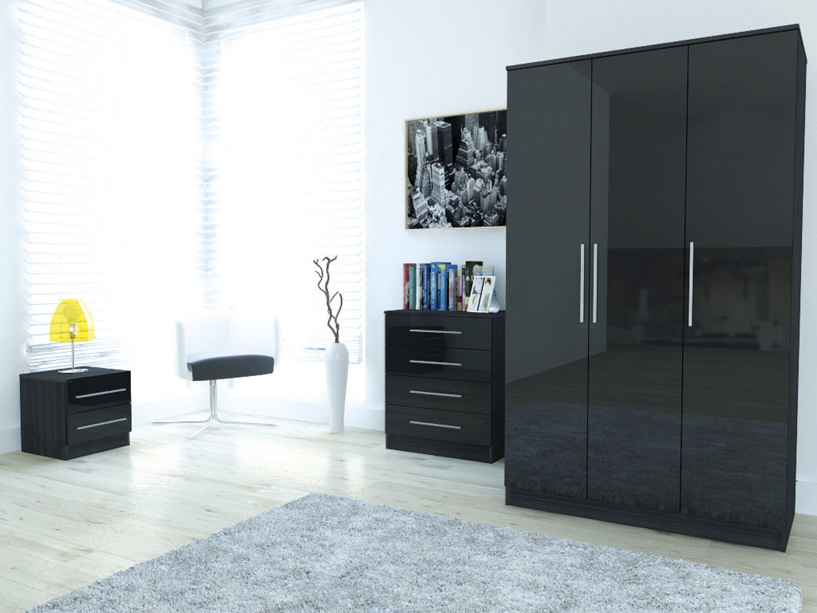New Design For High Gloss Bed : High Gloss Bedroom Furniture Set  Large Wardrobe Chest Bedside ...