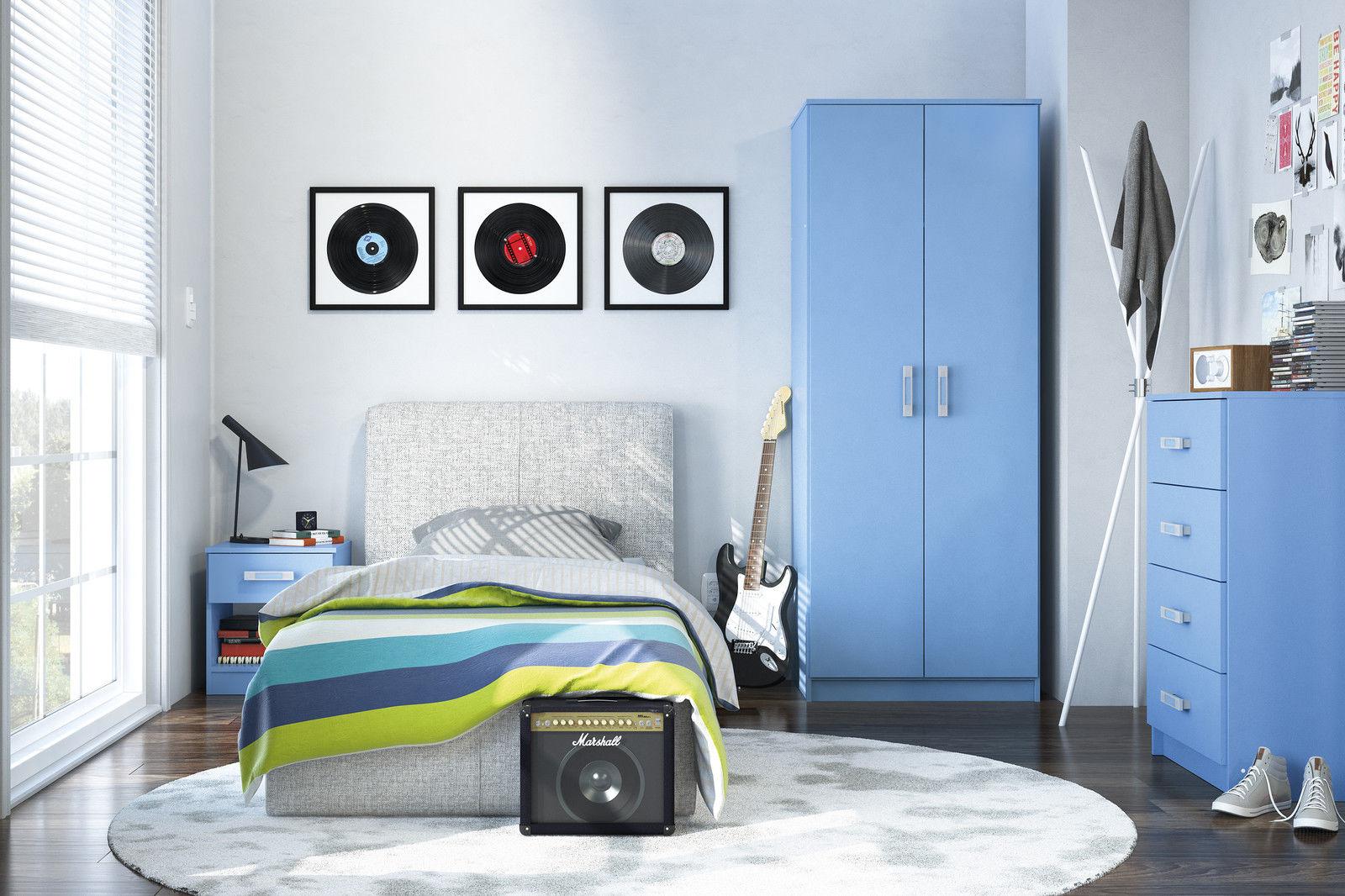 new reflect blue gloss trio boys bedroom furniture set
