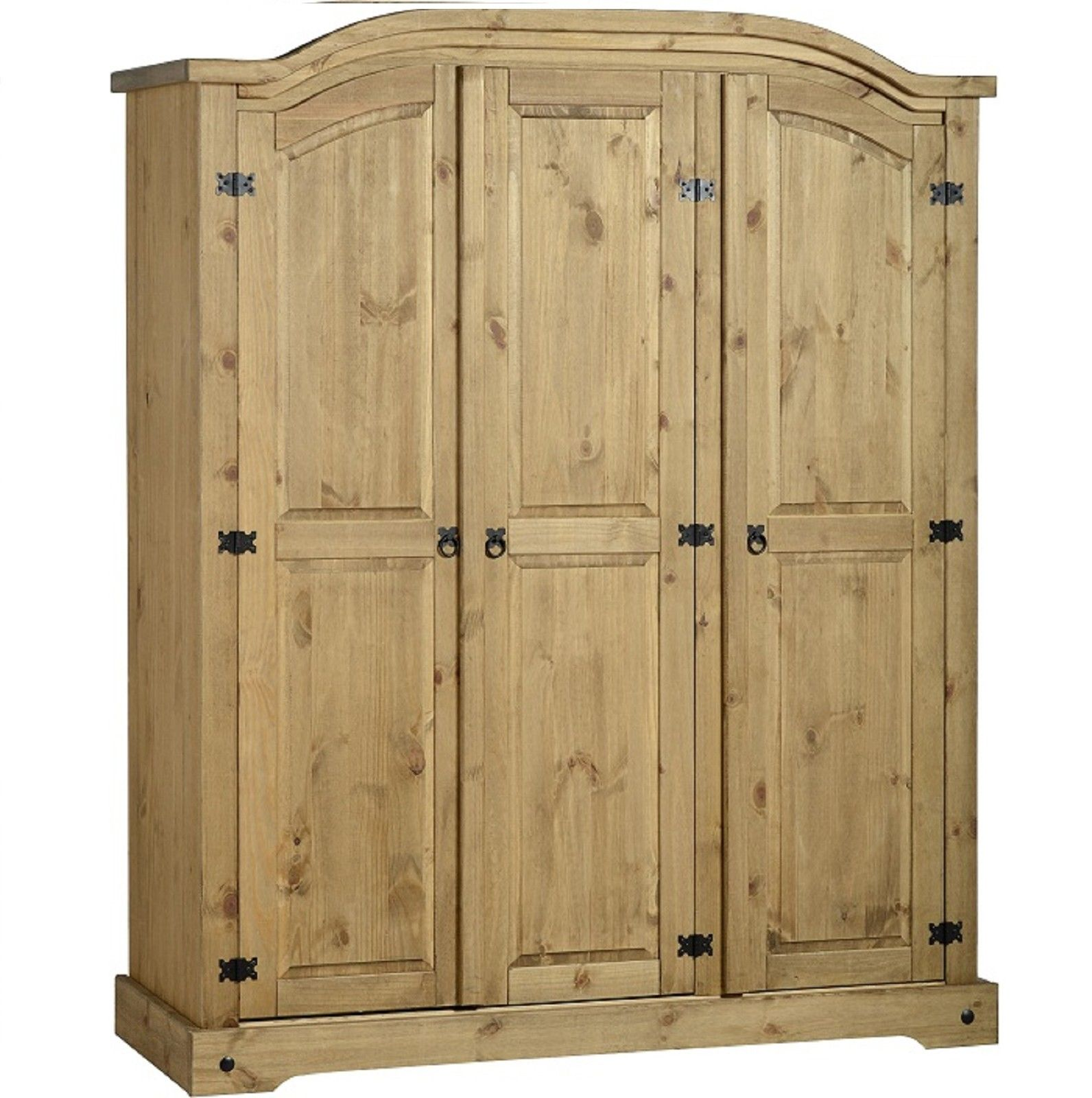 Aztec Mexican Style Solid Wood Pine Bedroom Furniture: Corona Solid Mexican Pine 3 Door Triple Wardrobe Arch Top