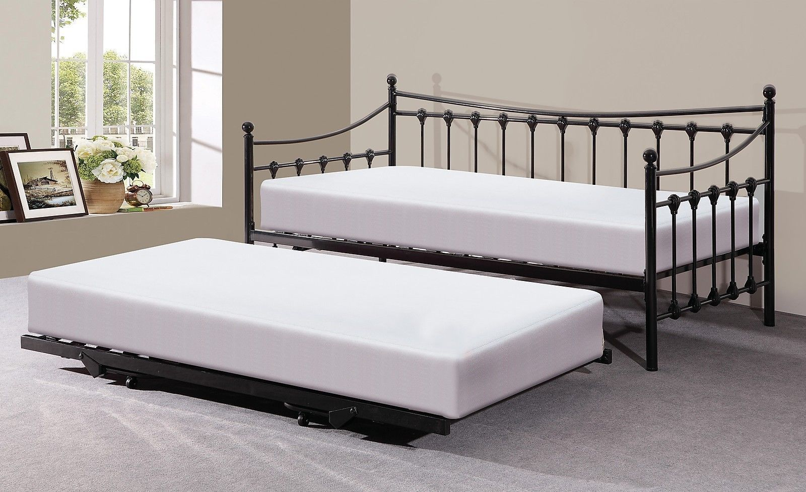 Memphis Black Metal Guest Day Bed and Pull Out Trundle Bed eBay