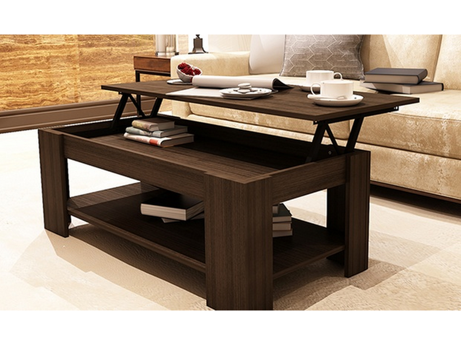 New Caspian Espresso Lift Up Top Coffee Table With Storage Shelf