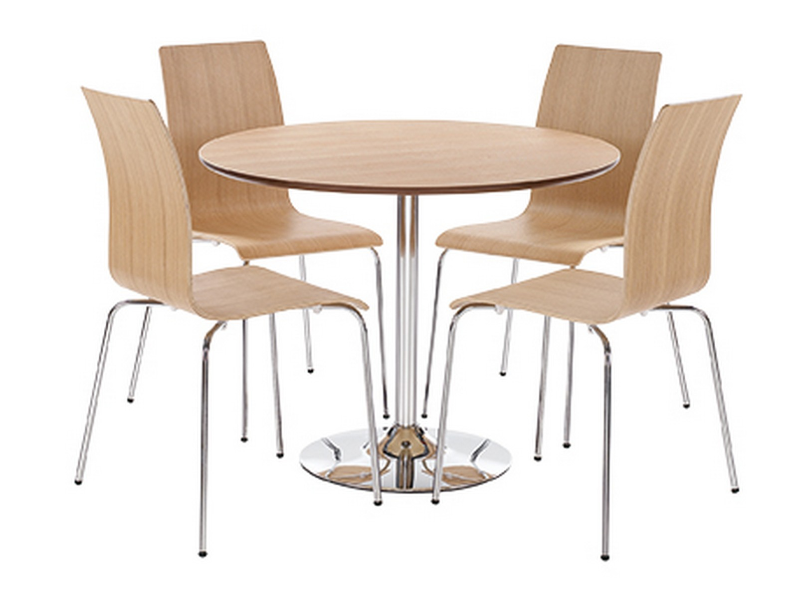 oak dining table and white chairs image
