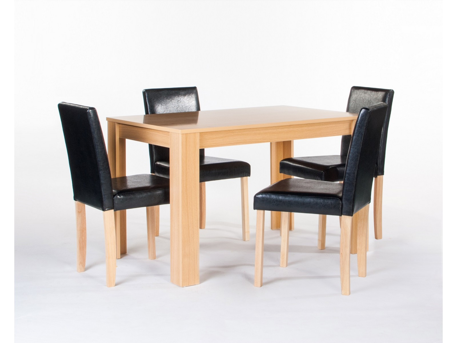 Cambridge Oak Dining Table With 4 Black Faux Leather Chairs EBay