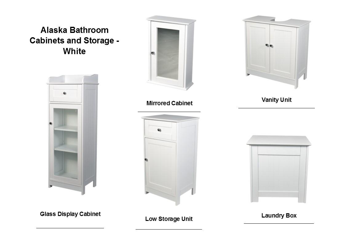 Alaska white bathroom range vanity unit mirrored for Bathroom cabinets the range