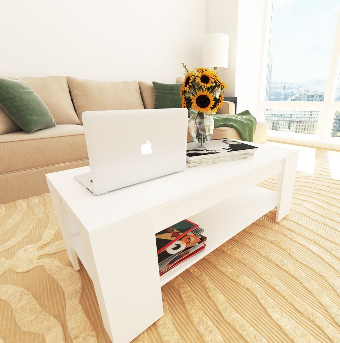New Caspian White Lift Up Top Coffee Table with Storage