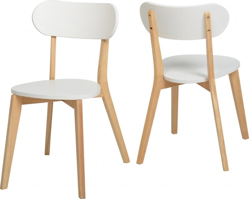 2x Seconique Wooden Julian Stacking Dining Chairs White EBay