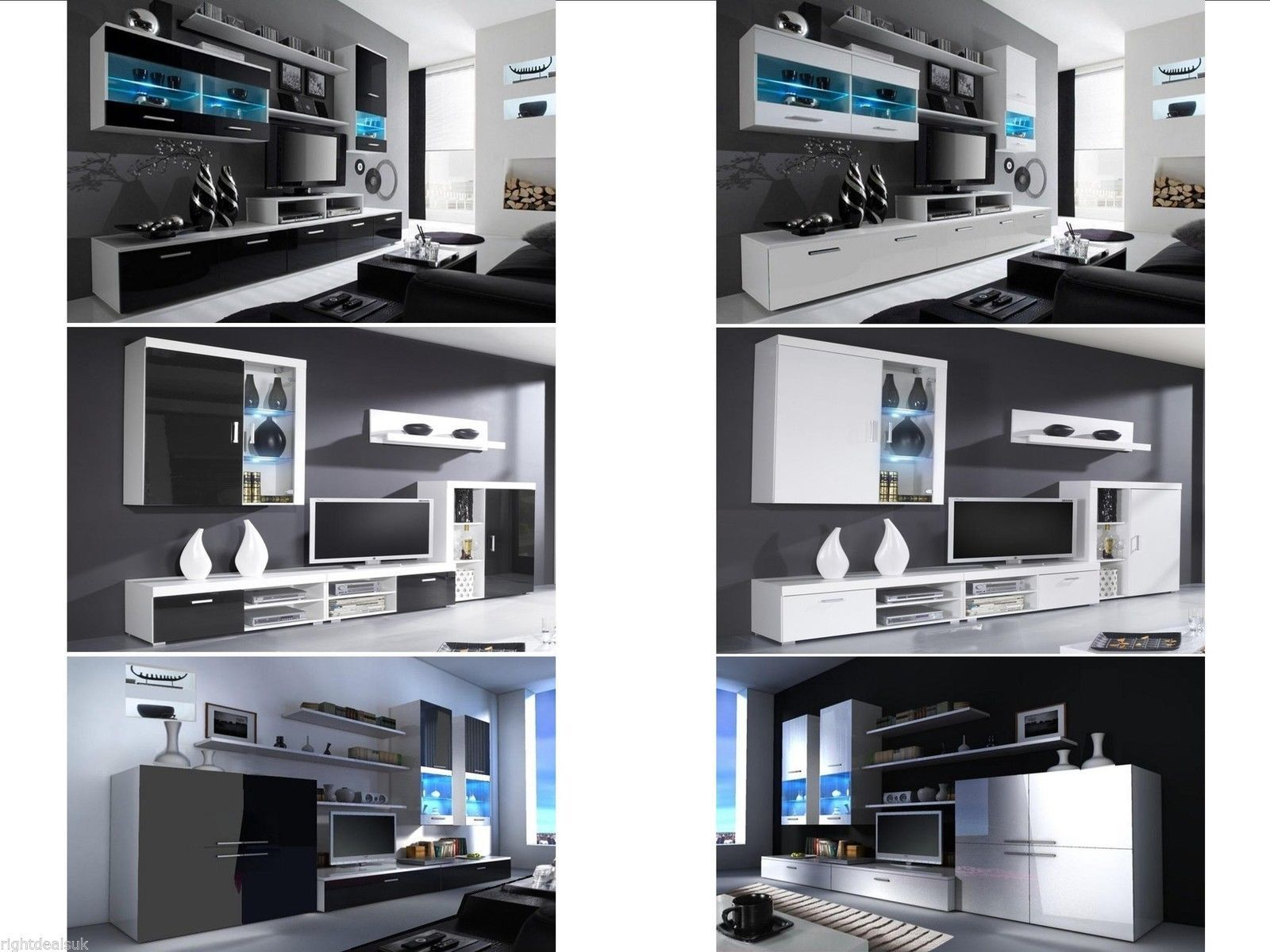 High Gloss Designer Living Room Sets Floating Units With LED Lights TV Sh