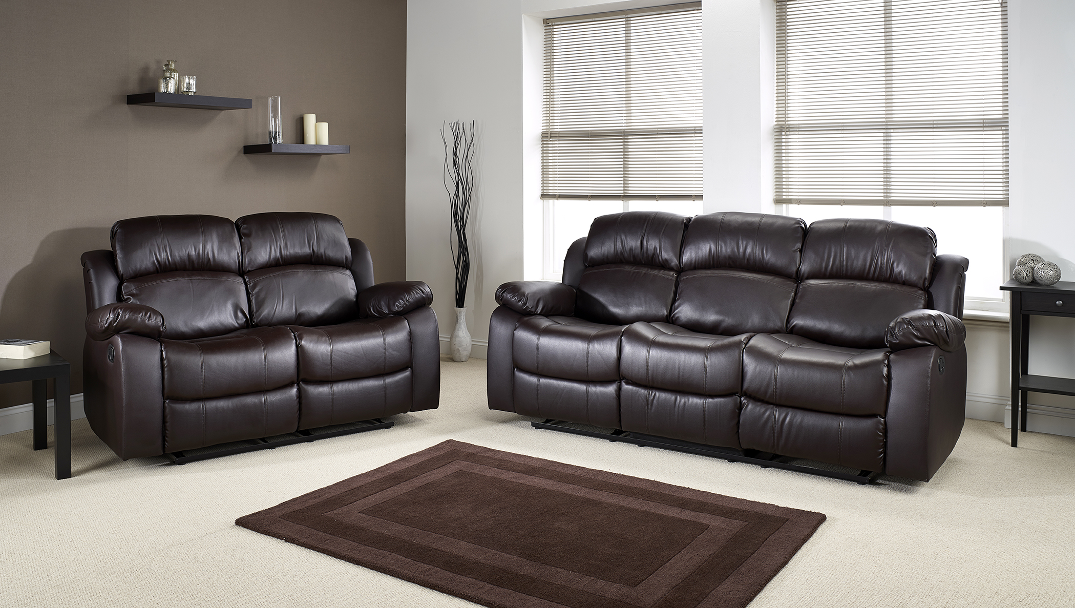 Virginia 3 and 2 Seater Bonded Leather Recliner Sofa set ...