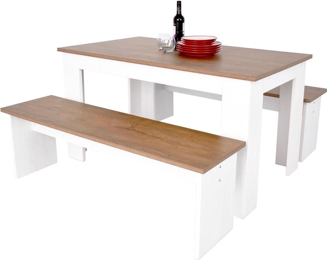 Kendal kitchen dining table bench seat set 3d textured white ash oak wood ebay - Bench kitchen set ...