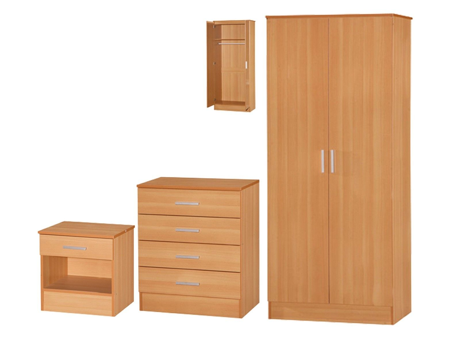 Galaxy beech bedroom furniture set 3 piece wardrobe for Beech bedroom furniture