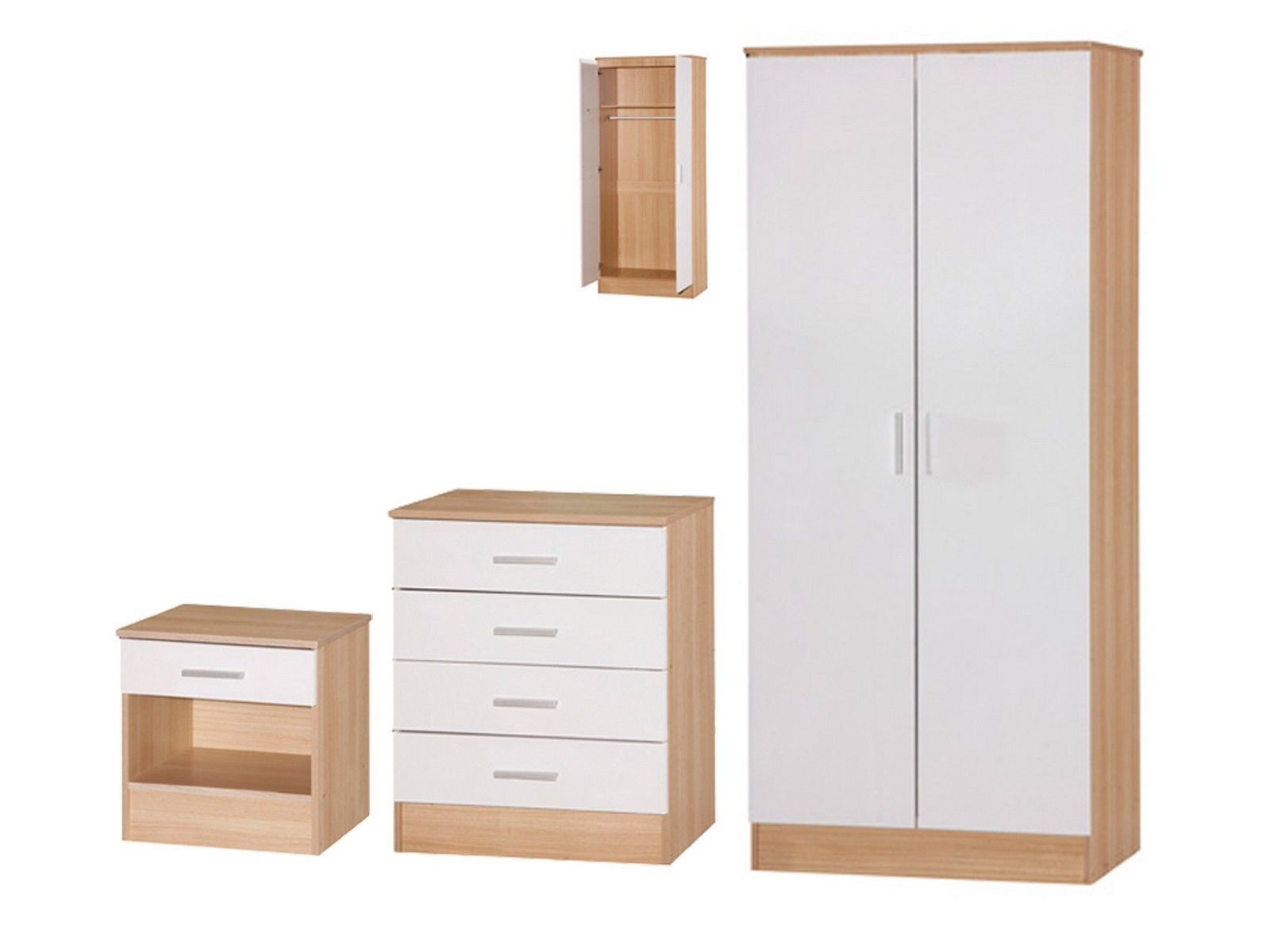 galaxy bedroom set 3 piece wardrobe chest bedside white oak high gloss. Black Bedroom Furniture Sets. Home Design Ideas