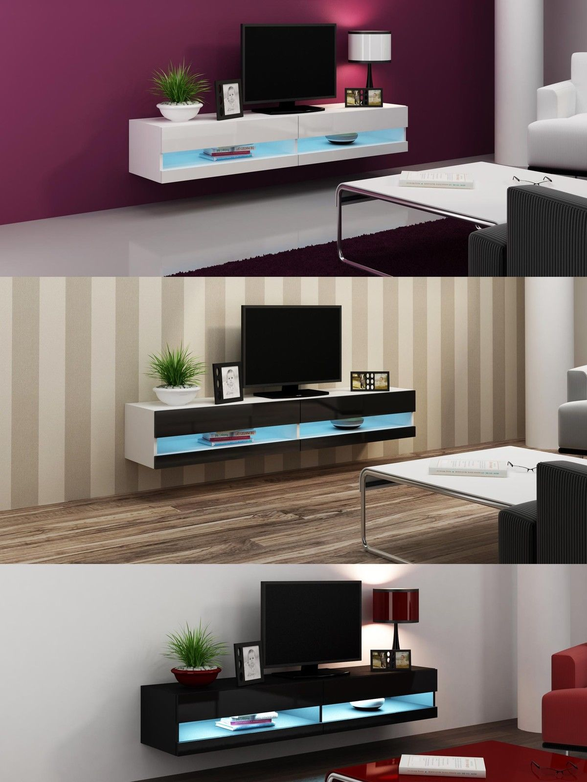White High Gloss Living Room Furniture Tv Stand With Led